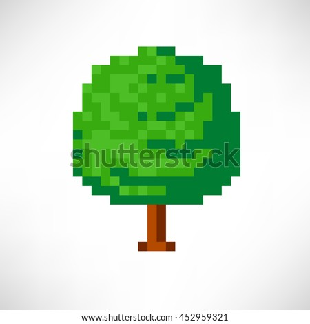 Tree abstract isolated on a white background. Vector illustration in the style of old-school pixel art.