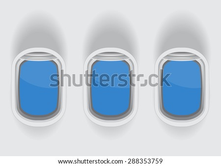 tree airplane windows with blank glass space for your text vector illustrations - stock vector