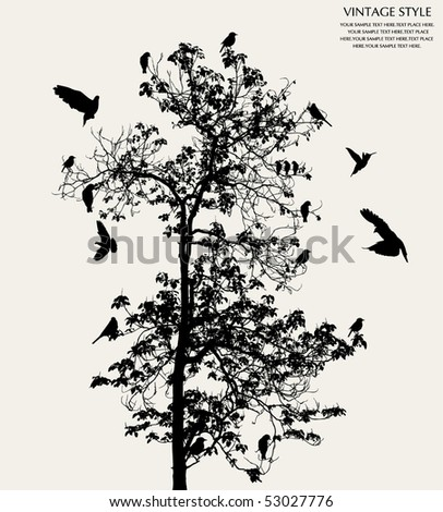 tree and bird - stock vector