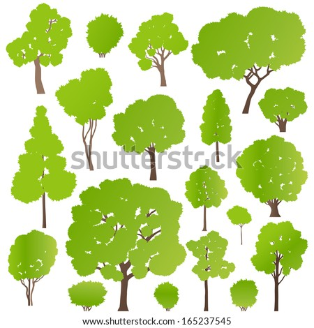 Tree and bushes set ecology vector background concept - stock vector