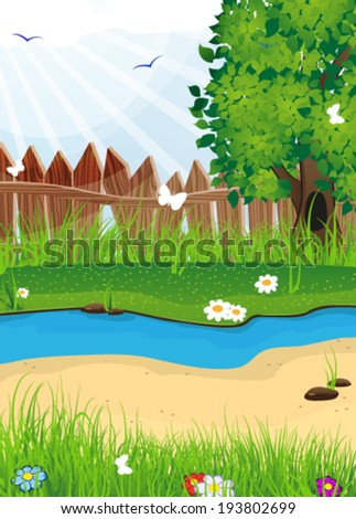 Tree and flowers on a meadow near a stream. Summer  landscape nature. - stock vector