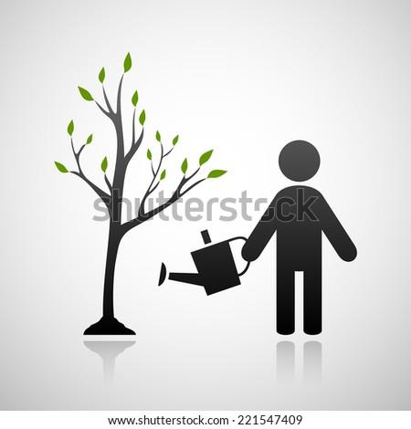 Tree and gardener. Eps10 - stock vector