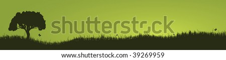 tree and grass landscape - stock vector