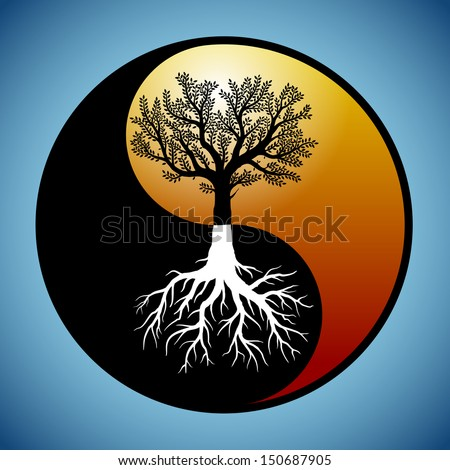 Tree and it's roots silhouette in modified yin yang symbol - stock vector
