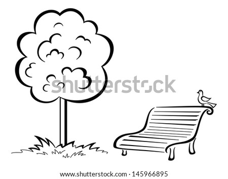 Tree and park bench with sitting bird, black contour isolated on white background. Vector - stock vector