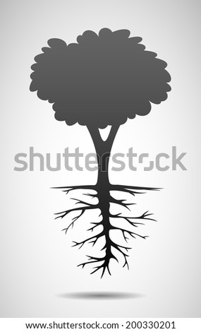 Tree and root symbol. Eps10 - stock vector