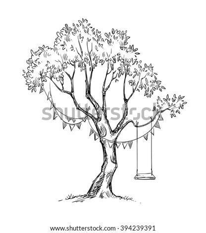 Tree and swing. Vector sketch.  - stock vector
