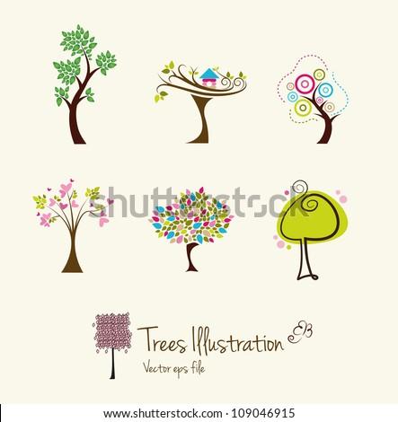 Tree art illustrations - stock vector