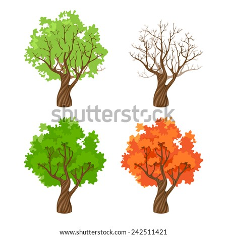 tree at four seasons over white background - stock vector