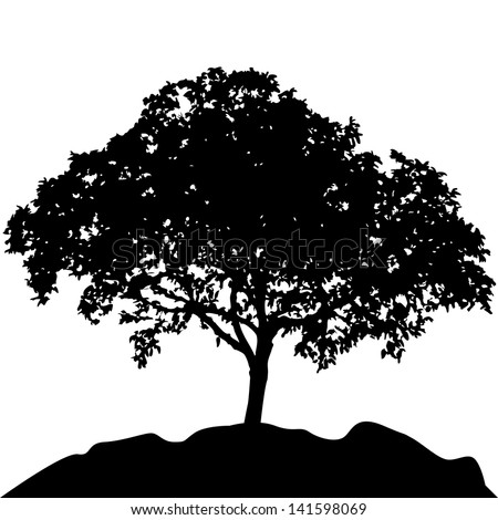 tree at hill silhouette vector  - stock vector
