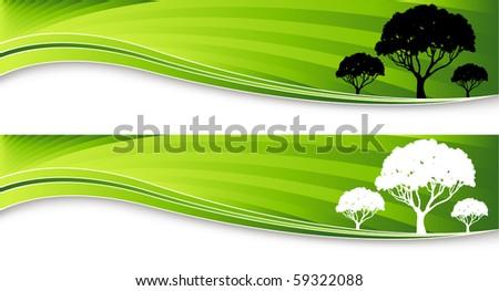 Tree Banner - stock vector