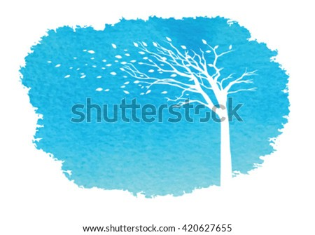 Tree blowing in the wind with water color background - stock vector