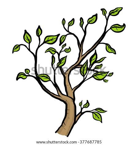 Spring tree branch drawing