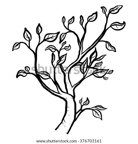 tree branch / cartoon vector and illustration, black and white, hand drawn, sketch style, isolated on white background. - stock vector