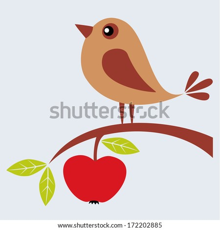 Tree branch with apple and cute bird