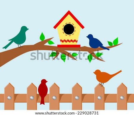 Tree branch with bird house. Set of colorful silhouette of birds standing on a wooden rural fence. cartoon childish drawing design, vector art image illustration, pastel blue sky background - stock vector