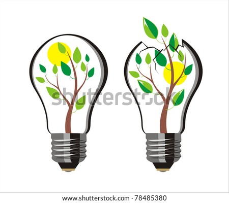 tree bursts out of the bulb - stock vector
