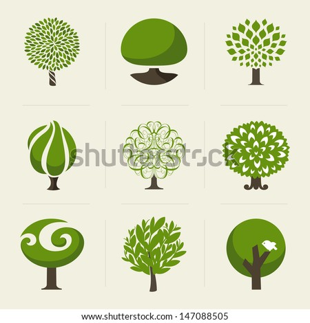 Tree. Collection of design elements - stock vector
