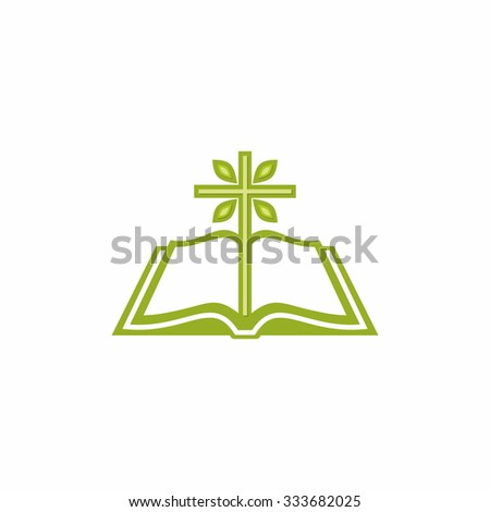 Tree cross from the pages of a Bible - stock vector
