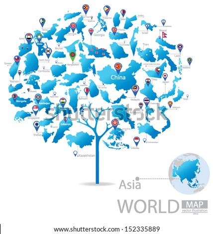 Tree design. Countries in Asia. flag. World Map vector Illustration. - stock vector