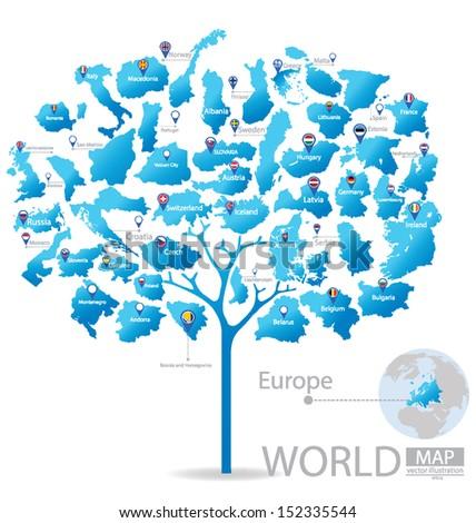 Tree design countries europe flag world stock vector 152335544 countries in europe flag world map vector illustration gumiabroncs Gallery