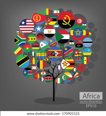 Tree design. Flag of Africa. vector Illustration.