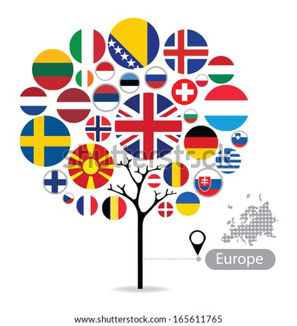 Tree design. Flag of Europe. vector Illustration. - stock vector