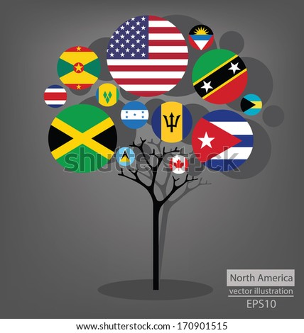 Tree design. Flag of North America. vector Illustration.