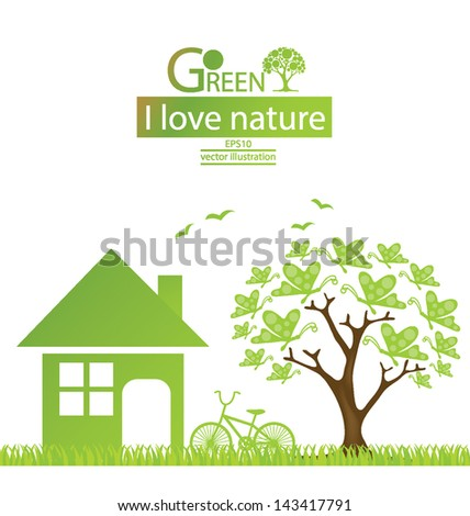 Tree design. Home. Go green. Save world. vector illustration. - stock vector