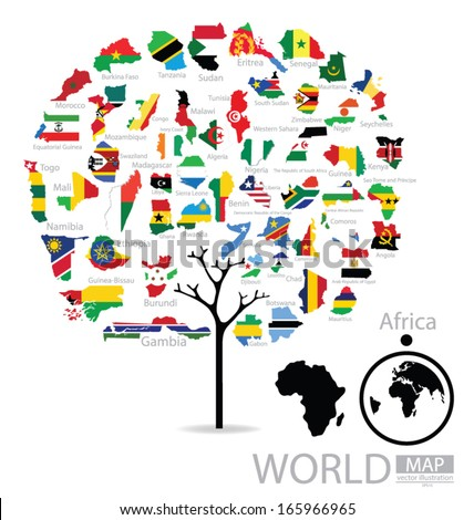 Tree design. Map. Flag of Africa. vector Illustration.