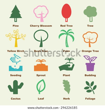 tree elements, vector infographic icons - stock vector