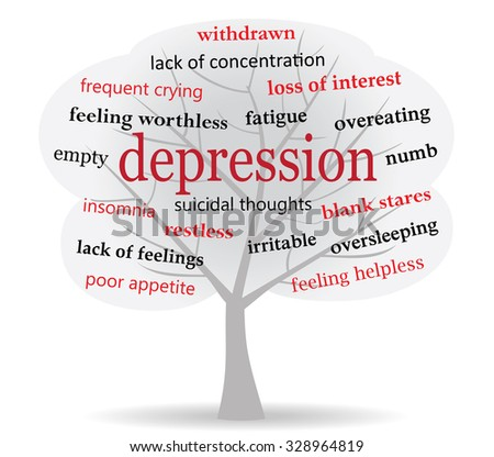 tree filled with dark cloud shape and words connected to symptoms of depression   - stock vector
