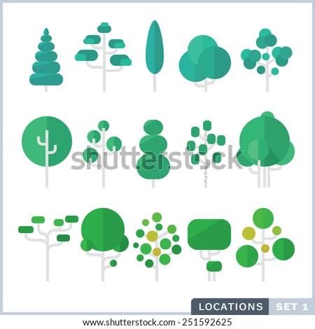Tree Flat icon set. - stock vector
