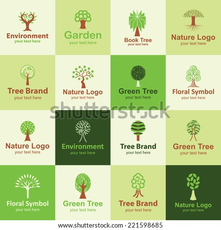 tree flat icons set logo ideas for brand - stock vector