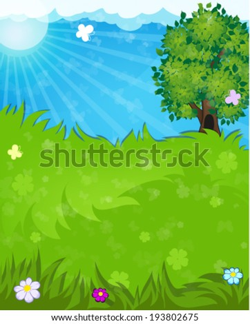 Tree, flowers and butterflies in the meadow. Summer landscape nature. - stock vector