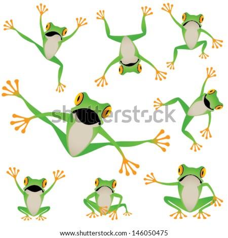 Tree frog set - stock vector