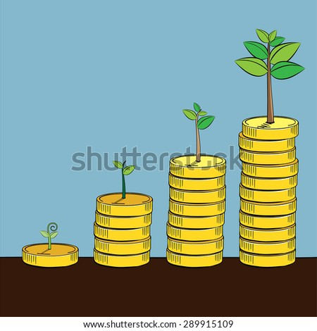 Tree growing on golden coin, Business concept, Illustration Vector eps10 - stock vector