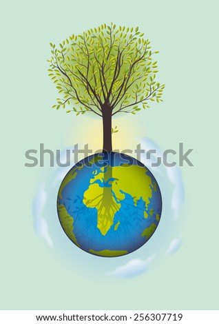 tree growing on the planet earth - stock vector