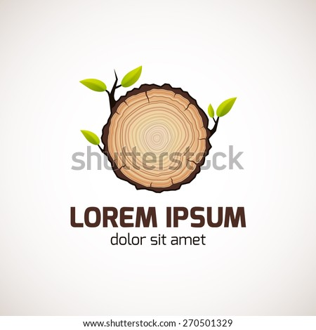 Tree growth rings logo icon, vector tree rings background and saw cut tree trunk. Logo template. Corporate icon. Brand visualization. Eco, bio, organic, natural concept. - stock vector
