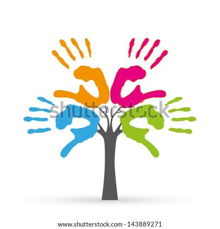 tree hands illustration - stock vector