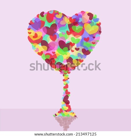 Tree hearts colors. vector illustration - stock vector