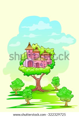 Tree house on higher tree hand draw illustration - stock vector
