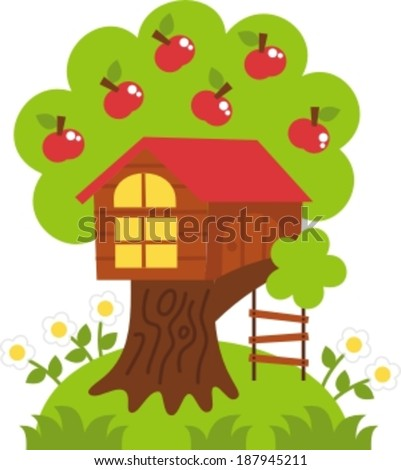 tree house � vector illustration. playground - the tree house, cheerful childhood - stock vector