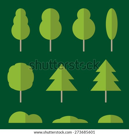 Tree icon set. Design elements of nature in flat style. Vector illustration. - stock vector
