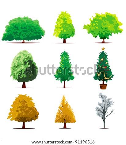 tree icon set vector - stock vector