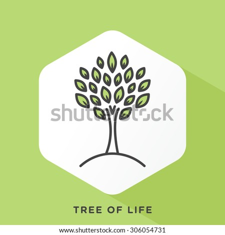 Tree icon with dark grey outline and offset flat colors.  - stock vector