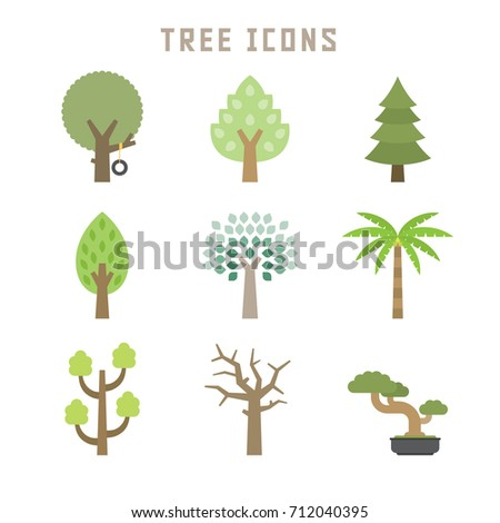 Tree icons in flat style for your botany projects or nature publications.