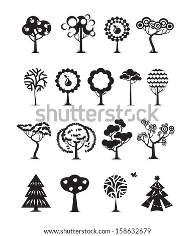 Tree icons. Vector format - stock vector