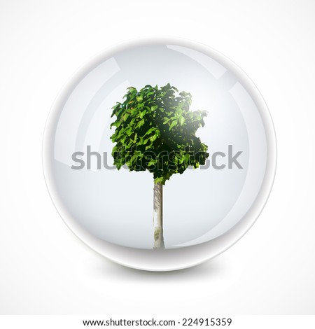 Tree in a bubble. Vector ecology background - stock vector