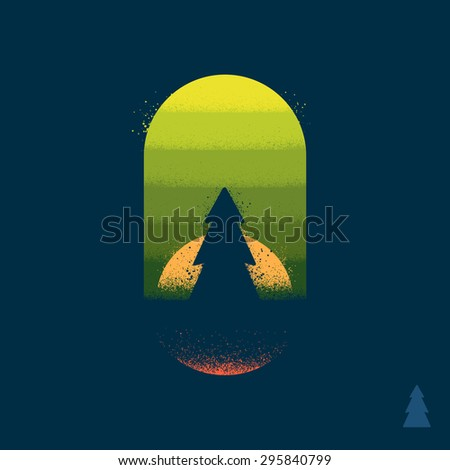 Tree in a forest illustration emblem with texture - stock vector
